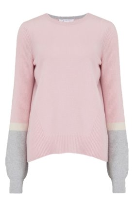 contrast sleeve jumper in nymph, chalk and potash