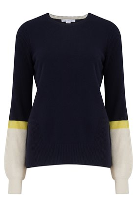 contrast sleeve jumper in jet, lemon sour and chalk