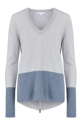 v-neck jumper in potash and locha