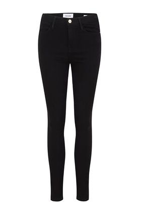 Frame LE HIGH SKINNY SATEEN JEAN IN NOIR