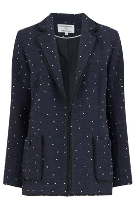 Helene Berman EDGE TO EDGE JACKET IN NAVY FLECKS