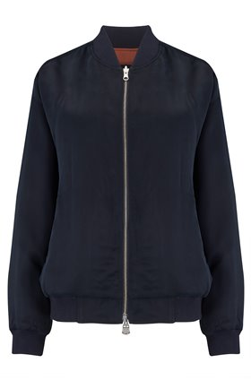 MARLO REVERSIBLE BOMBER JACKET IN NAVY SAMBAR