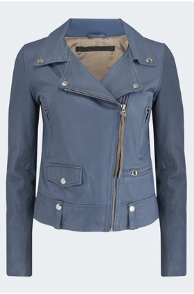 seattle thin leather biker jacket in airforce blue