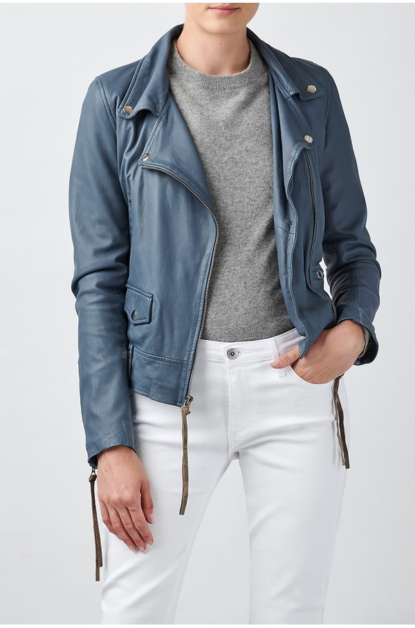exclusive seattle thin leather biker jacket in airforce blue