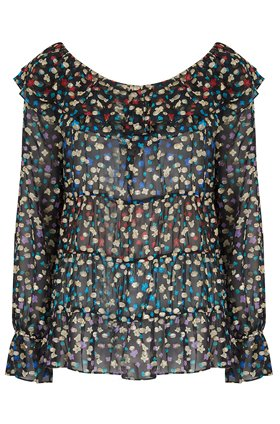 chloe frill top in mixed daisy floral