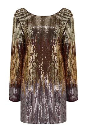 Rixo ARIA SEQUIN DRESS IN BRONZE OMBRE