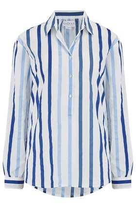 Velvet TALIA STRIPED SHIRT IN BLUE
