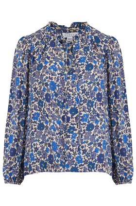 naomi printed challis top in bluebell