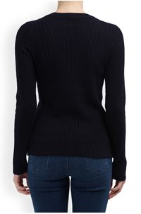 MINI CABLE V-NECK JUMPER IN COASTAL