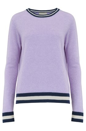 Jumper1234 BOXY STRIPED EDGE JUMPER IN HEATHER AND NAVY