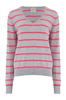Jumper1234 BOYFRIEND STRIPED V-NECK JUMPER IN PEWTER