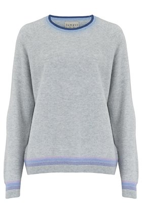 Jumper1234 SUPER STRIPE JUMPER IN GREY AND DENIM BLUE
