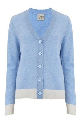Jumper1234 CROP LOOSE CARDIGAN IN BABY BLUE AND CREAM