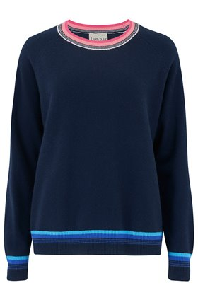 Jumper1234 SUPER STRIPE JUMPER IN NAVY