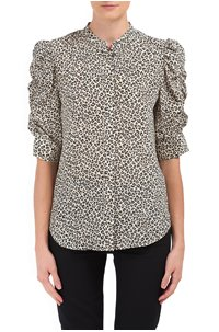 shirred sleeve top in caramel multi