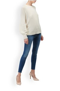 dinlas waffle back jumper in cream