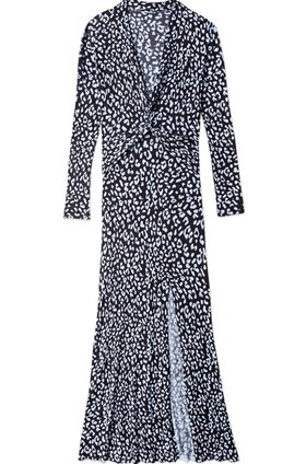 Rixo ANJA TWIST MIDI DRESS IN BLUE LEOPARD