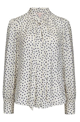 Rebecca Taylor BLURRY HEART TOP IN SNOW COMBO