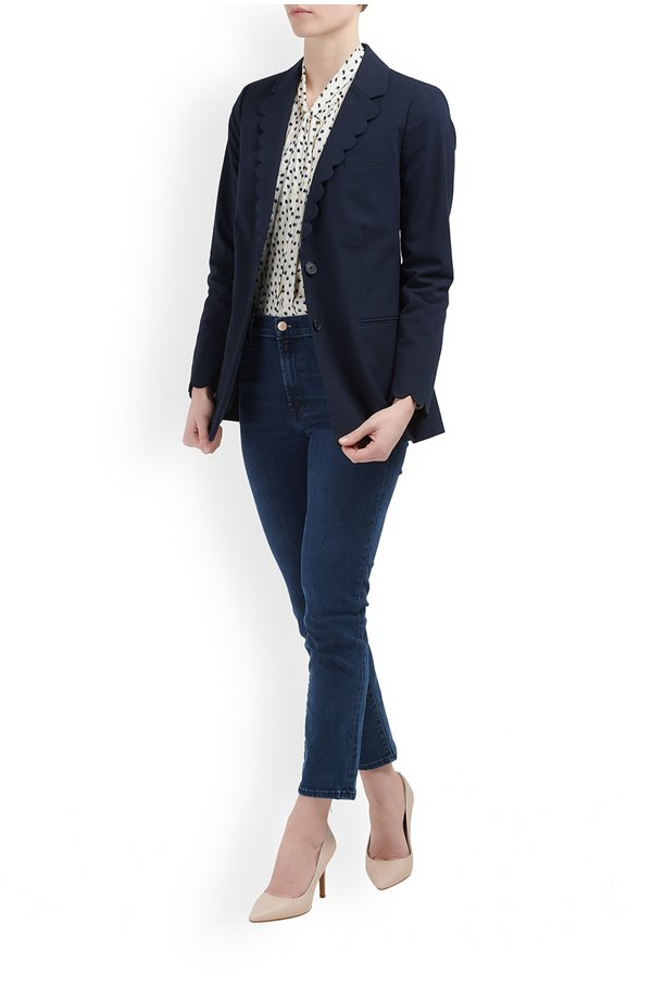 scalloped suit jacket in navy
