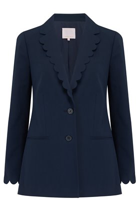 Rebecca Taylor SCALLOPED SUIT JACKET IN NAVY