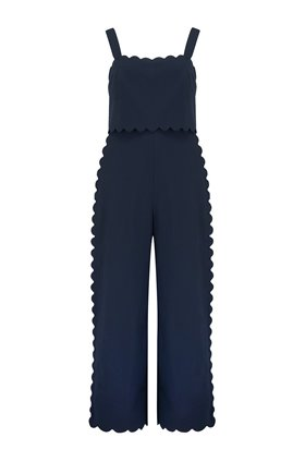 sleeveless scalloped jumpsuit in navy