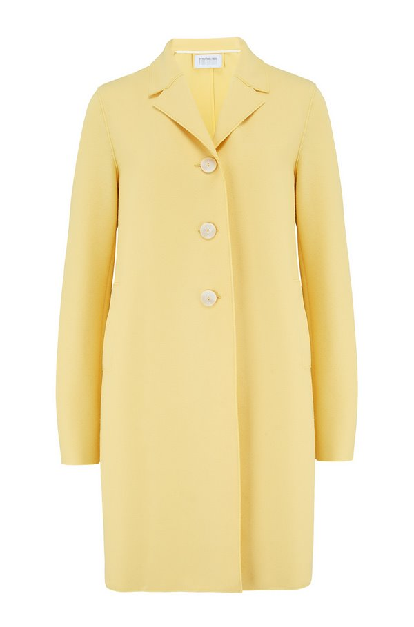 boxy coat in pastel yellow