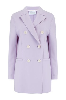 Harris Wharf London LONG DOUBLE BREASTED BLAZER IN LAVENDER