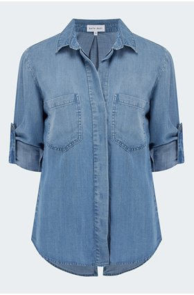 split button down shirt in medium ombre