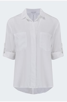 split button down shirt in white