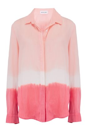 Bella Dahl CLASSIC HIPSTER SHIRT IN BRIGHT CORAL