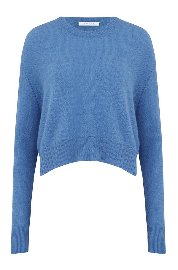 ROUND NECK JUMPER IN CORNFLOWER