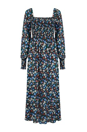 Rixo MARIE MIDI DRESS IN RETRO MICRO FLORAL