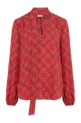 Rixo MOSS PRINTED TOP IN SCARF FLORAL RED