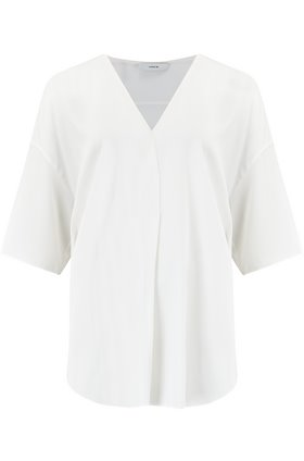 short sleeve v-neck popover top in off white