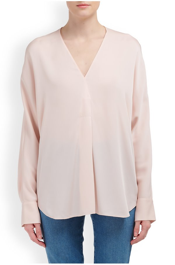 long sleeve v-neck popover top in pale petal