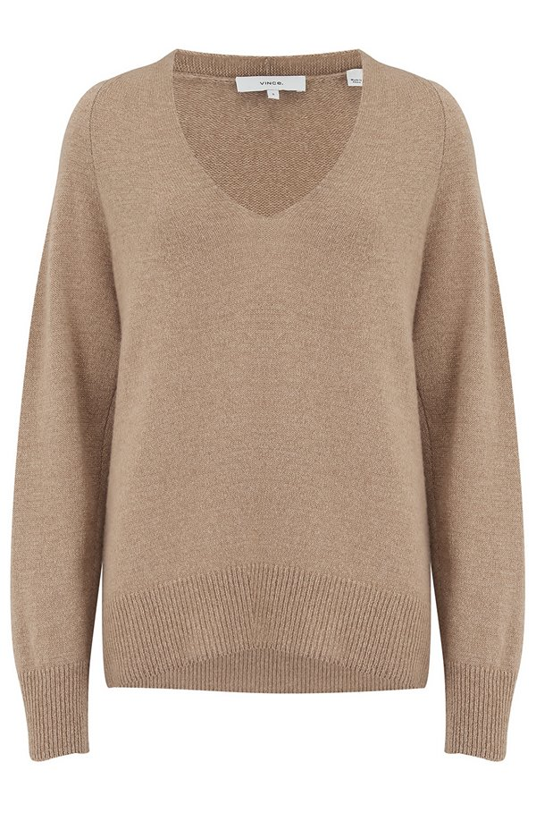 marled v-neck jumper in dune