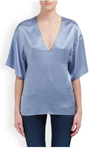DOUBLE V-NECK BLOUSE IN SKY GRAPHITE