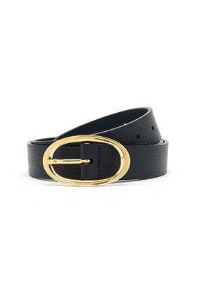 rounded buckle belt in black
