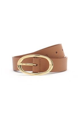 rounded buckle belt in hermes tan