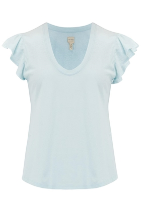 Rebecca Taylor La Vie  Washed Textured Jersey Top in Aqua