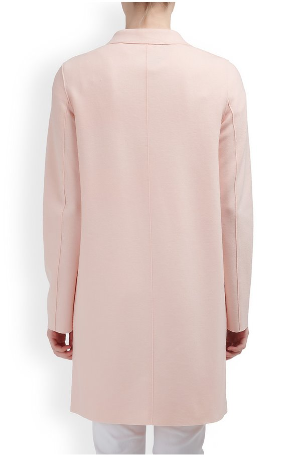 boxy coat in pastel pink