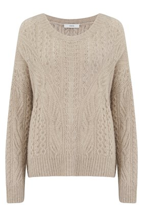 OPEN KNIT CABLE CREW JUMPER IN TAUPE