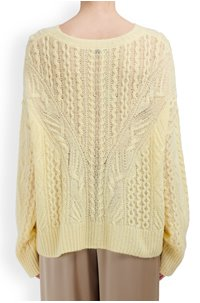 open knit cable crew jumper in sun creme