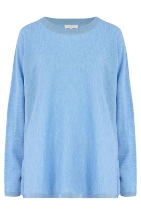 exclusive crew neck jumper with lurex trim in blue