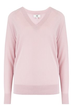 exclusive lurex v-neck jumper in pink