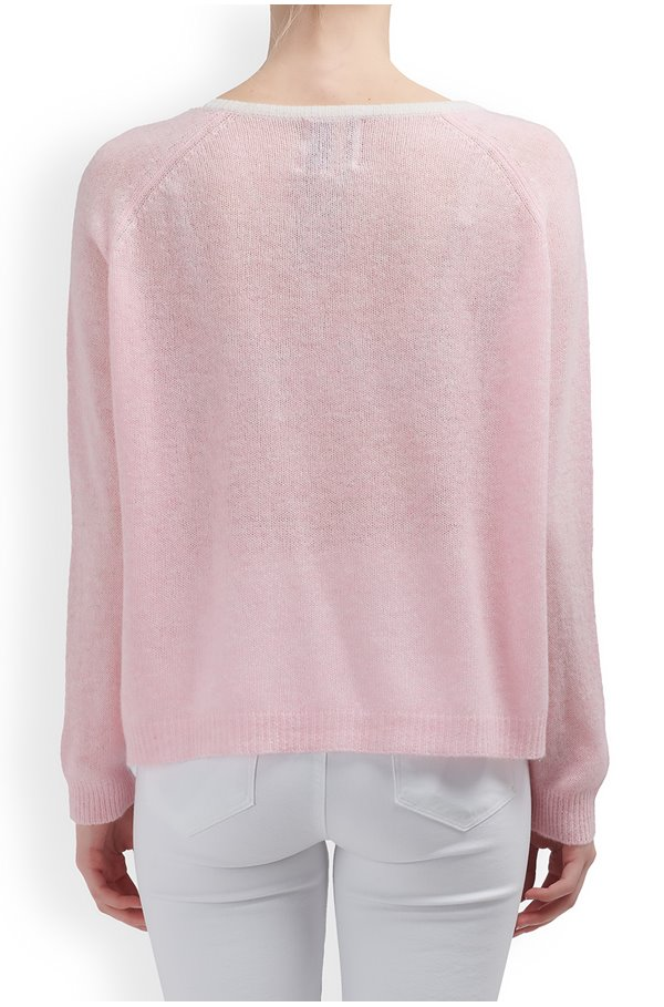 tipped loose v-neck jumper in pink marl and grey