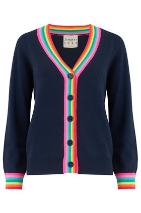 rainbow cardigan in navy