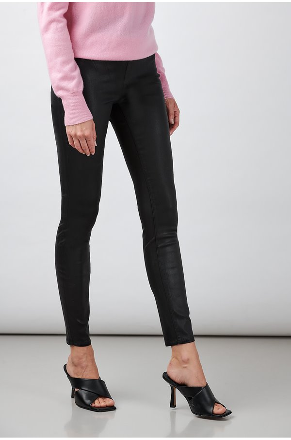 rochelle skinny jean in black coated