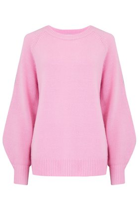dinlas waffle back jumper in baby pink