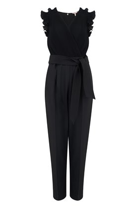 SLEEVELESS PLEATED JUMPSUIT IN BLACK